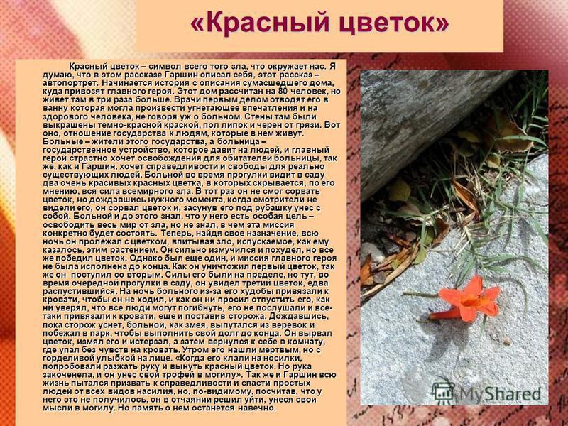 «Красный цветок» Красный цветок – символ всего того зла, что окружает нас. Я думаю, что в этом рассказе Гаршин описал себя, этот рассказ – автопортрет. Начинается история с описания сумасшедшего дома, куда привозят главного героя. Этот дом рассчитан