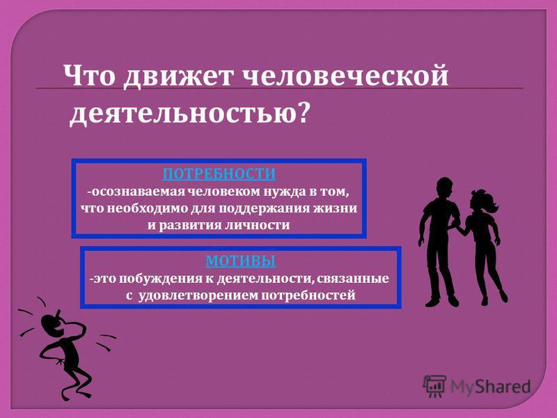Что движет человеческой деятельностью ? МОТИВЫ - это побуждения к деятельности, связанные с удовлетворением потребностей ПОТРЕБНОСТИ - осознаваемая человеком нужда в том, что необходимо для поддержания жизни и развития личности