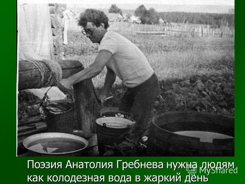 Поэзия Анатолия Гребнева нужна людям как колодезная вода в жаркий день