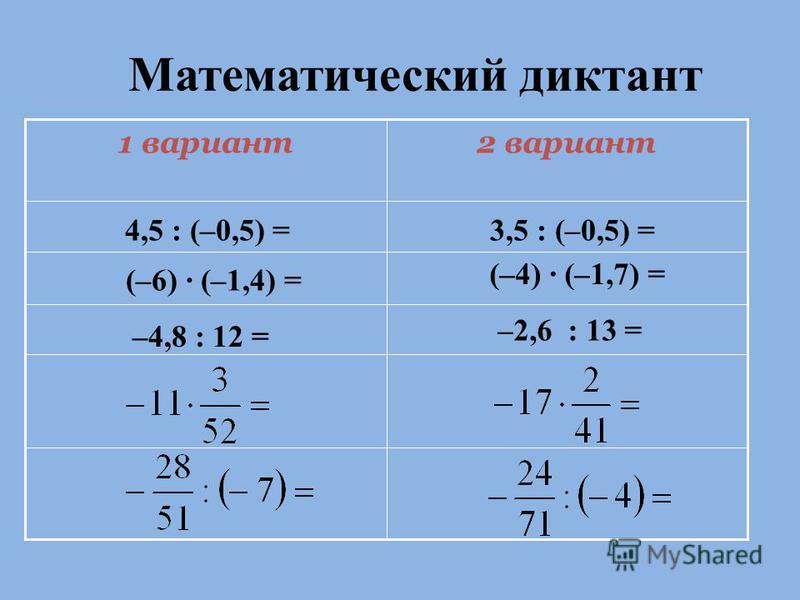 Математический диктант 2 вариант 1 вариант 4,5 : (–0,5) =3,5 : (–0,5) = (–6) · (–1,4) = (–4) · (–1,7) = –4,8 : 12 = –2,6 : 13 =