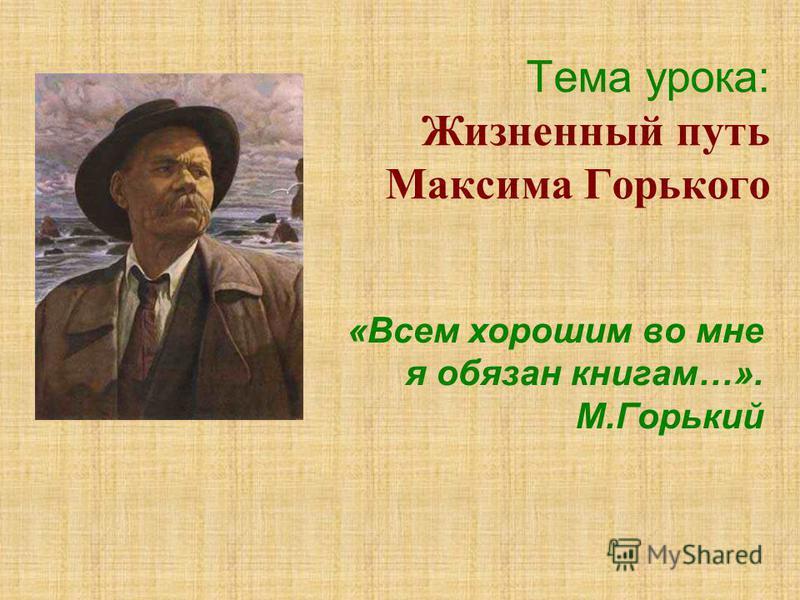 Тема урока: Жизненный путь Максима Горького «Всем хорошим во мне я обязан книгам…». М.Горький