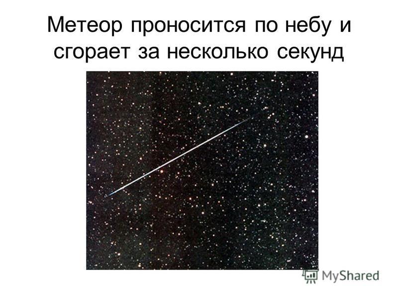 Метеор проносится по небу и сгорает за несколько секунд