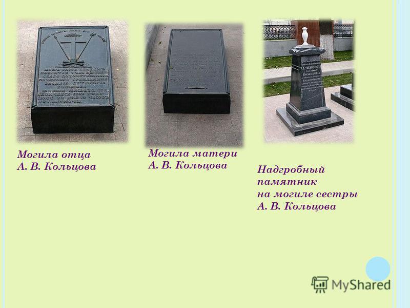 Могила отца А. В. Кольцова Могила матери А. В. Кольцова Надгробный памятник на могиле сестры А. В. Кольцова