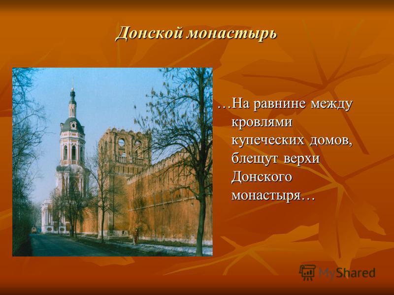 Донской монастырь …На равнине между кровлями купеческих домов, блещут верхи Донского монастыря…