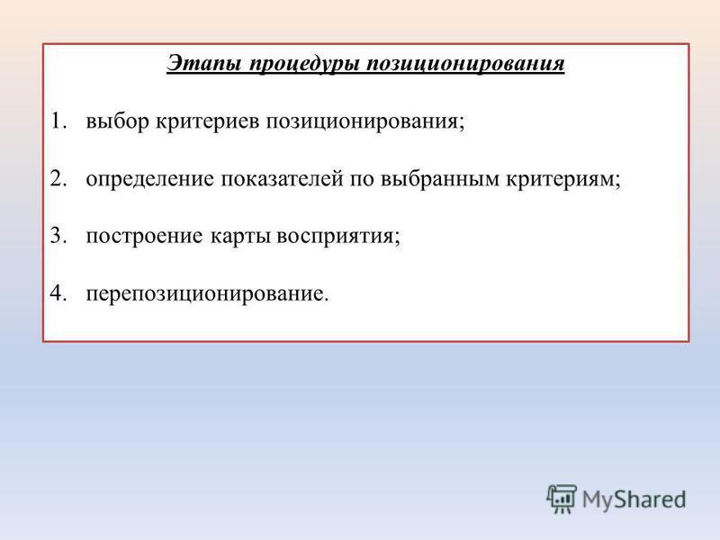 Этапы процедуры позиционирования 1. выбор критериев позиционирования; 2. определение показателей по выбранным критериям; 3. построение карты восприятия; 4.перепозиционирование.