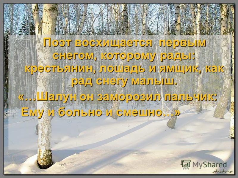 Поэт восхищается первым снегом, которому рады: крестьянин, лошадь и ямщик, как рад снегу малыш. Поэт восхищается первым снегом, которому рады: крестьянин, лошадь и ямщик, как рад снегу малыш. «…Шалун он заморозил пальчик: «…Шалун он заморозил пальчик