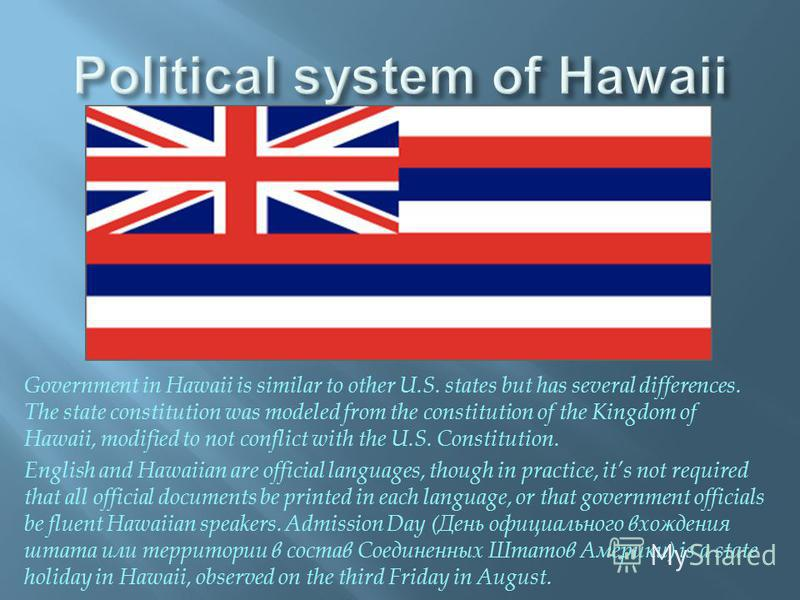 Government in Hawaii is similar to other U.S. states but has several differences. The state constitution was modeled from the constitution of the Kingdom of Hawaii, modified to not conflict with the U.S. Constitution. English and Hawaiian are officia