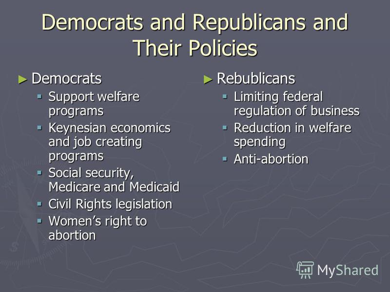 Democrats and Republicans and Their Policies Democrats Democrats Support welfare programs Support welfare programs Keynesian economics and job creating programs Keynesian economics and job creating programs Social security, Medicare and Medicaid Soci