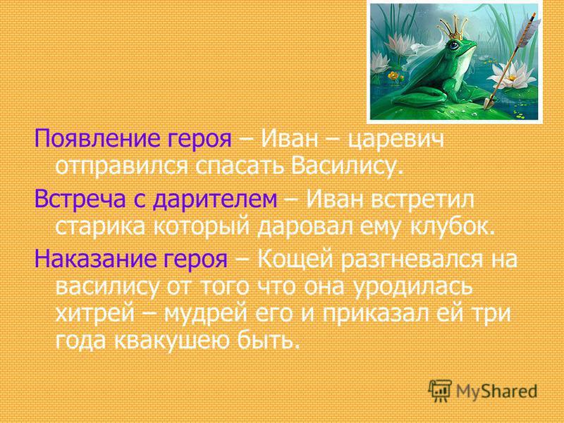 Появление героя – Иван – царевич отправился спасать Василису. Встреча с дарителем – Иван встретил старика который даровал ему клубок. Наказание героя – Кощей разгневался на василису от того что она уродилась хитрей – мудрей его и приказал ей три года