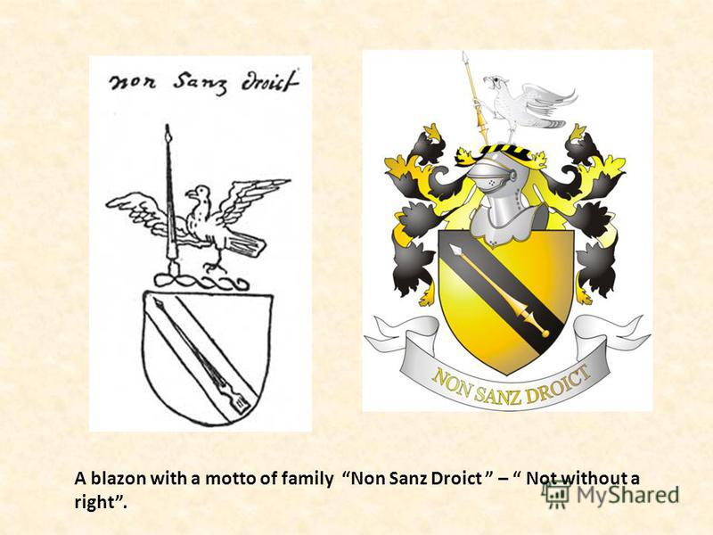 A blazon with a motto of family Non Sanz Droict – Not without a right.
