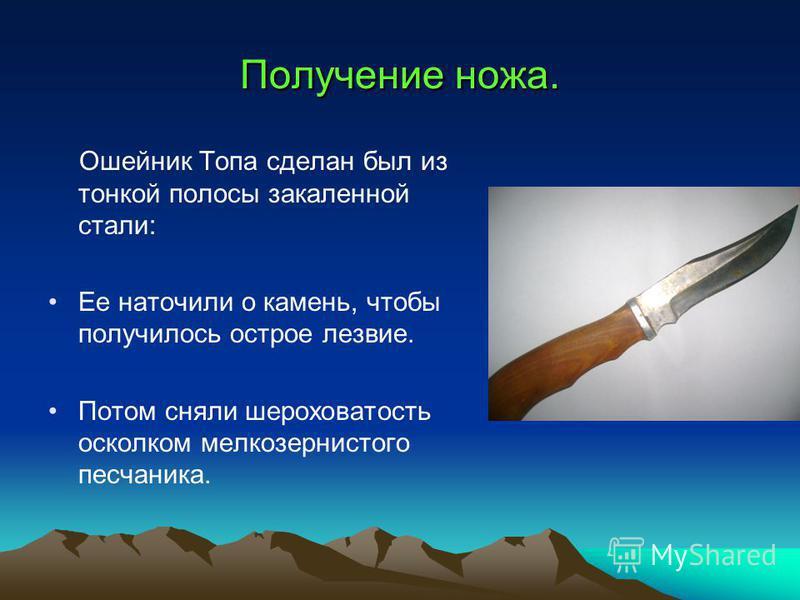 Получение ножа. Ошейник Топа сделан был из тонкой полосы закаленной стали: Ее наточили о камень, чтобы получилось острое лезвие. Потом сняли шероховатость осколком мелкозернистого песчаника.