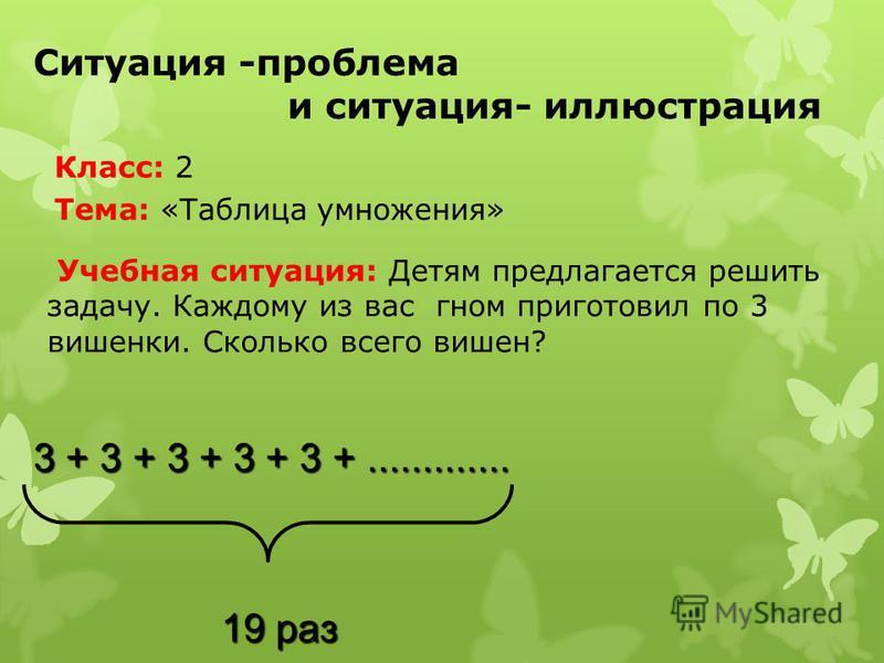 Ситуация -проблема и ситуация- иллюстрация Учебная ситуация: Детям предлагается решить задачу. Каждому из вас гном приготовил по 3 вишенки. Сколько всего вишен? 3 + 3 + 3 + 3 + 3 +............. 19 раз 19 раз Класс: 2 Тема: «Таблица умножения»