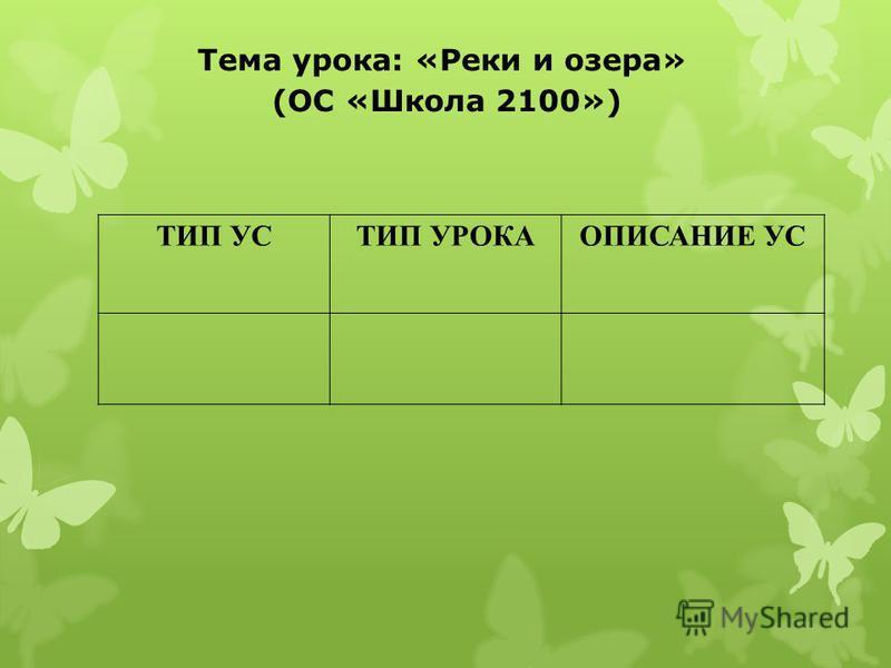 Тема урока: «Реки и озера» (ОС «Школа 2100») ТИП УСТИП УРОКАОПИСАНИЕ УС