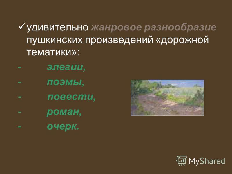 удивительно жанровое разнообразие пушкинских произведений «дорожной тематики»: - элегии, - поэмы, - повести, - роман, - очерк.