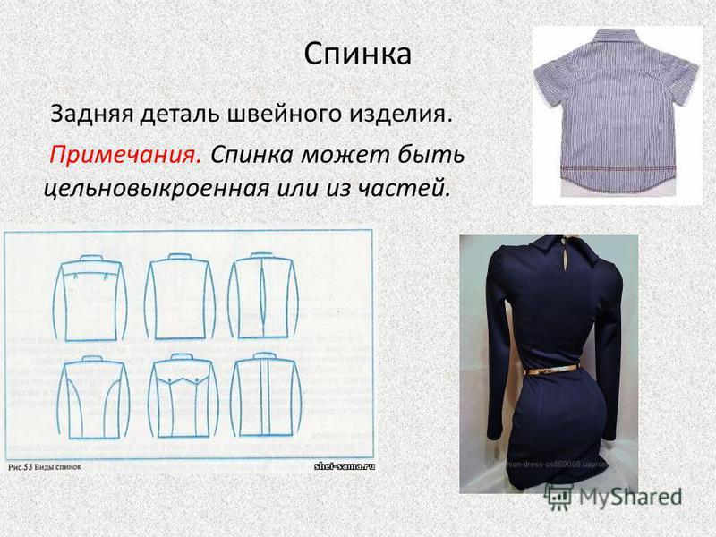 Спинка Задняя деталь швейного изделия. Примечания. Спинка может быть цельновыкроенная или из частей.
