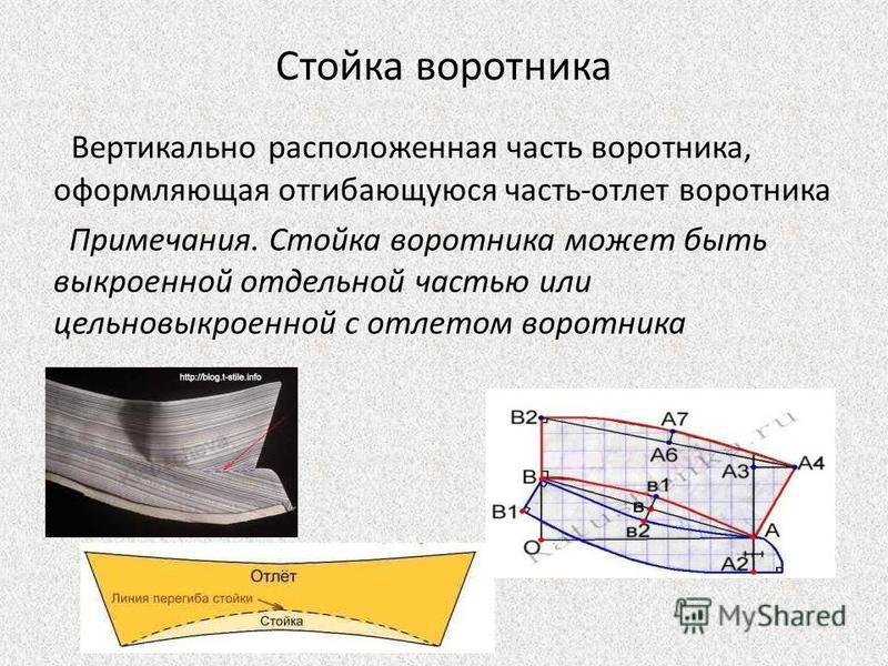 Стойка воротника Вертикально расположенная часть воротника, оформляющая отгибающуюся часть-отлет воротника Примечания. Стойка воротника может быть выкроенной отдельной частью или цельновыкроенной с отлетом воротника
