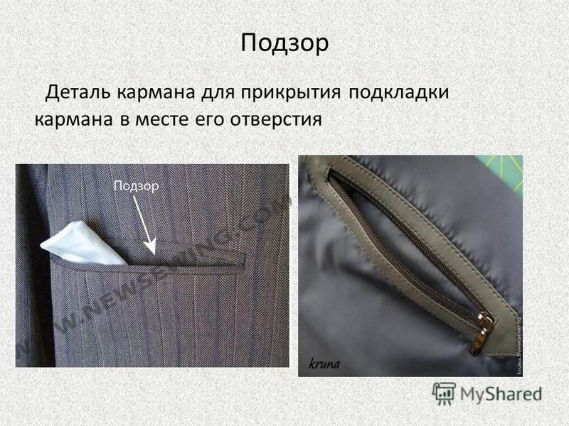 Подзор Деталь кармана для прикрытия подкладки кармана в месте его отверстия