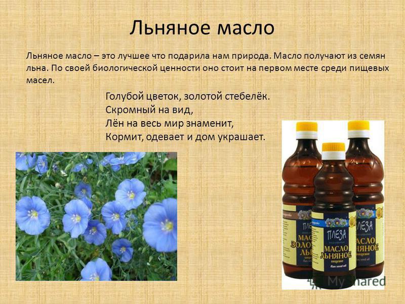 Льняное масло Голубой цветок, золотой стебелёк. Скромный на вид, Лён на весь мир знаменит, Кормит, одевает и дом украшает. Льняное масло – это лучшее что подарила нам природа. Масло получают из семян льна. По своей биологической ценности оно стоит на