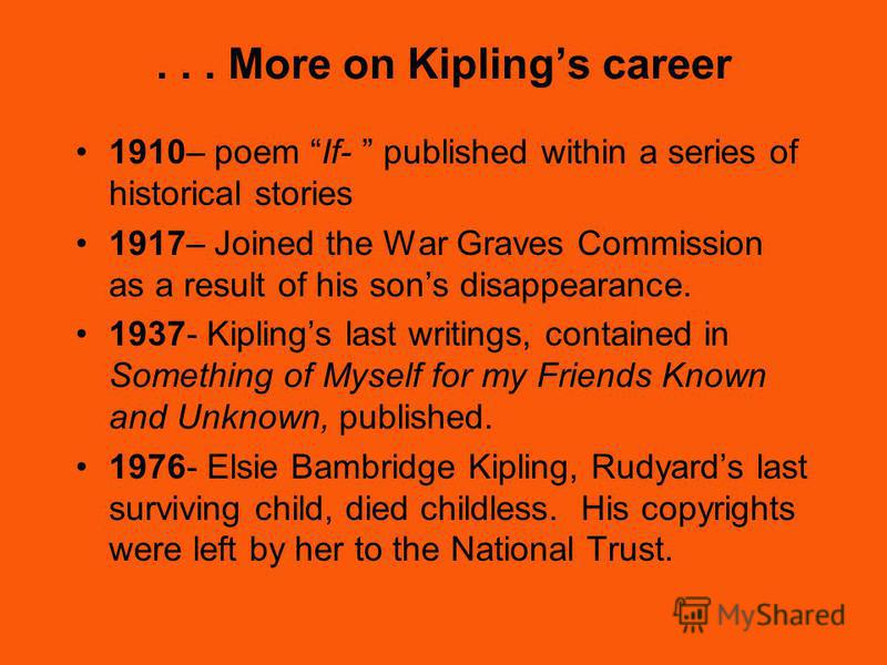 Kiplings career 1886- Assistant Editor of Civil and Military Gazette 1888- Editor of the weekly supplement, The Weeks News 1892- Wrote many novels and short stories, but began writing childrens novels. 1893- The Jungle Book published. 2 nd Jungle Boo