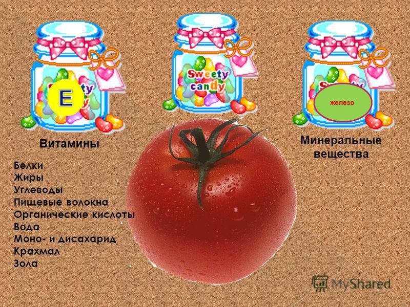 Витамины Минеральные вещества Белки Жиры Углеводы Пищевые волокна Органические кислоты Вода Моно- и дисахарид Крахмал Зола