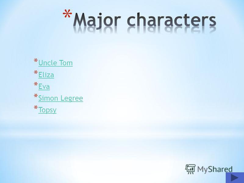* Uncle Tom Uncle Tom * Eliza Eliza * Eva Eva * Simon Legree Simon Legree * Topsy Topsy