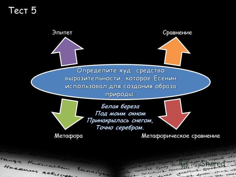Тест 5 Эпитет Сравнение Метафорическое сравнение Метафора