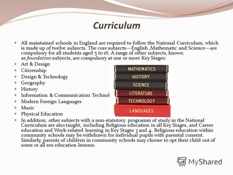 Curriculum All maintained schools in England are required to follow the National Curriculum, which is made up of twelve subjects. The core subjectsEnglish,Mathematic and Scienceare compulsory for all students aged 5 to 16. A range of other subjects,
