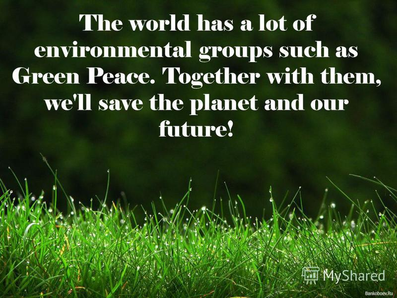The world has a lot of environmental groups such as Green Peace. Together with them, we'll save the planet and our future!