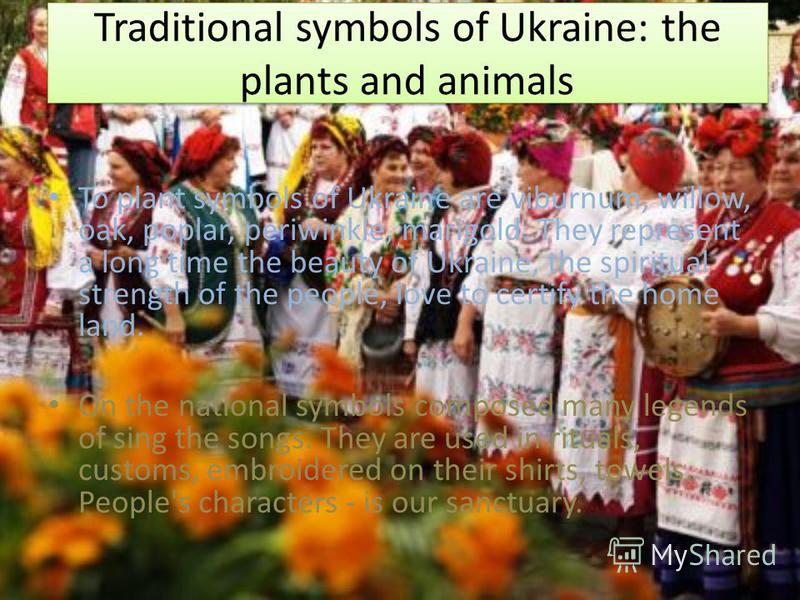 Traditional symbols of Ukraine: the plants and animals To plant symbols of Ukraine are viburnum, willow, oak, poplar, periwinkle, marigold. They represent a long time the beauty of Ukraine, the spiritual strength of the people, love to certify the ho