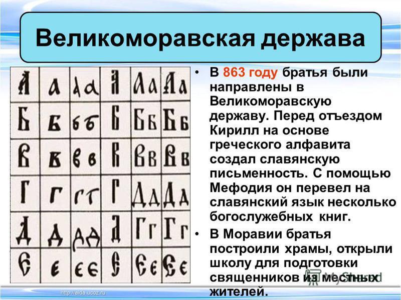 В 863 году братья были направлены в Великоморавскую державу. Перед отъездом Кирилл на основе греческого алфавита создал славянскую письменность. С помощью Мефодия он перевел на славянский язык несколько богослужебных книг. В Моравии братья построили