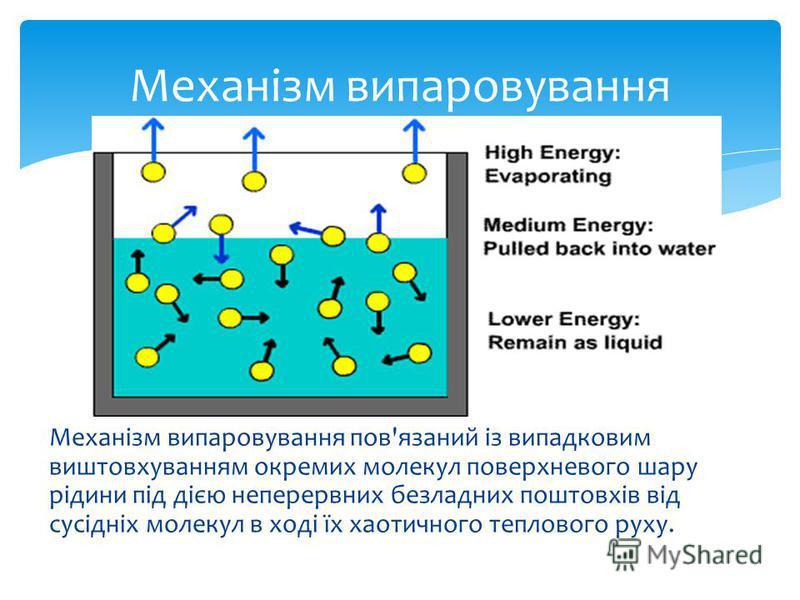 Механізм випаровування пов'язаний із випадковим виштовхуванням окремих молекул поверхневого шару рідини під дією неперервних безладних поштовхів від сусідніх молекул в ході їх хаотичного теплового руху. Механізм випаровування