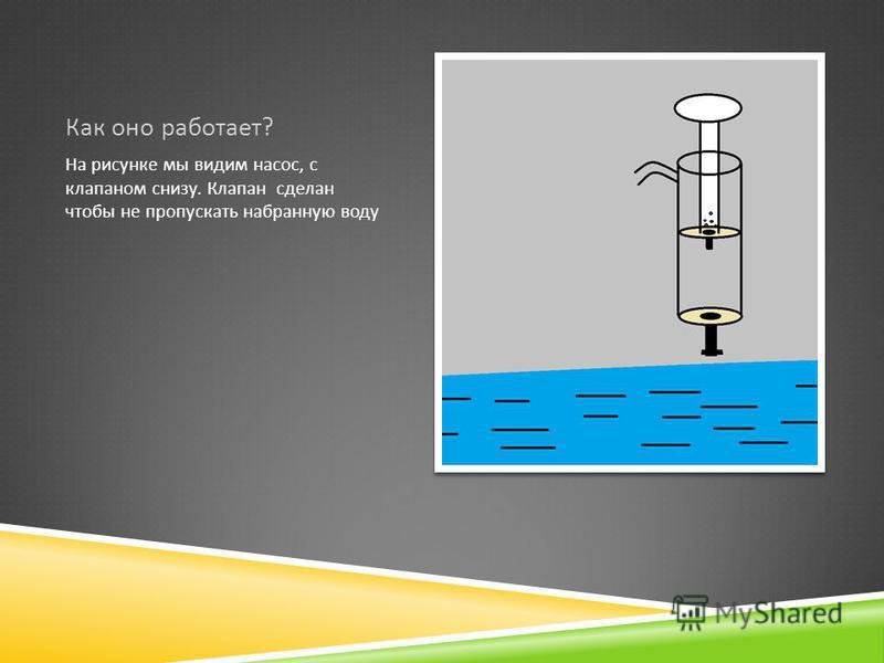 Как оно работает ? На рисунке мы видим насос, с клапаном снизу. Клапан сделан чтобы не пропускать набранную воду