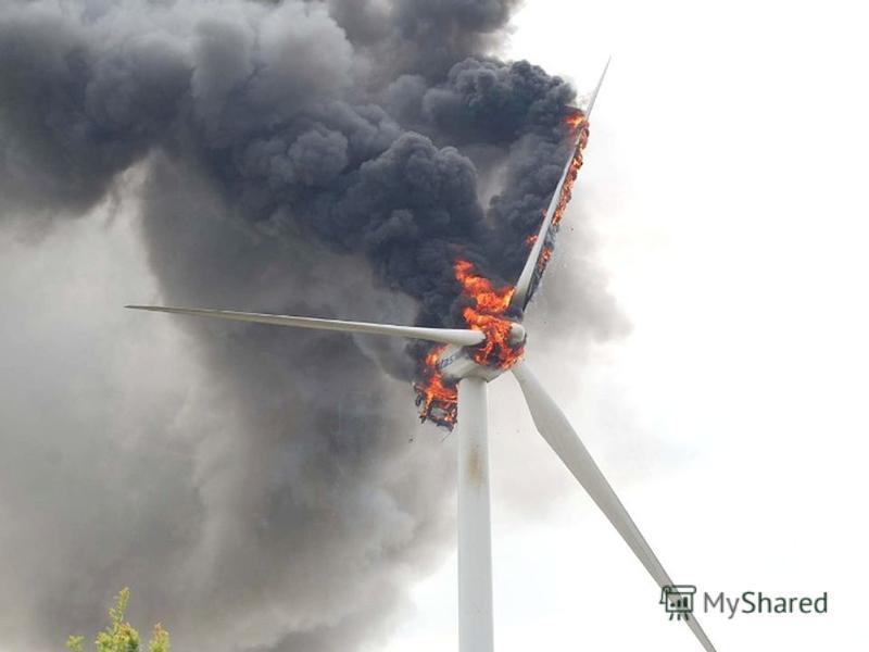 з точки зору екології Недолік 1: системи вітроелектростанцій займають дуже великі площі. Для розміщення сотень, тисяч і тим більше мільйонів вітряків потрібні були б дуже великі території в сотні тисяч гектарів. Річ в тім, що вітроагрегати близько од
