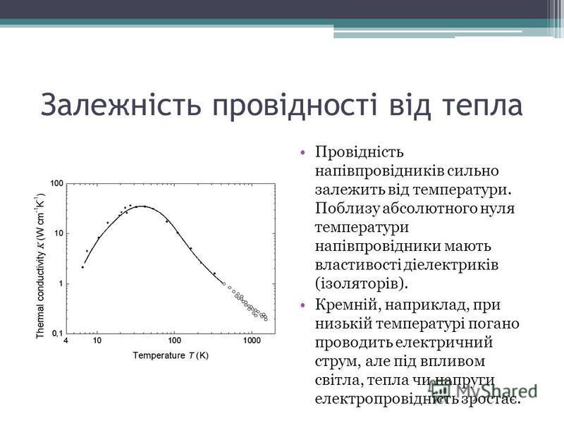 Залежність провідності від тепла Провідність напівпровідників сильно залежить від температури. Поблизу абсолютного нуля температури напівпровідники мають властивості діелектриків (ізоляторів). Кремній, наприклад, при низькій температурі погано провод
