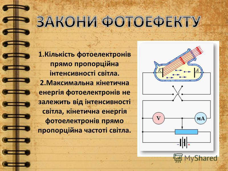 1.Кількість фотоелектронів прямо пропорційна інтенсивності світла. 2.Максимальна кінетична енергія фотоелектронів не залежить від інтенсивності світла, кінетична енергія фотоелектронів прямо пропорційна частоті світла.