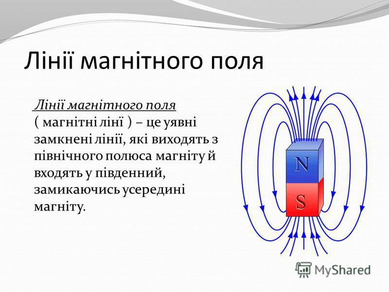 Лінії магнітного поля Лінії магнітного поля ( магнітні лінї ) – це уявні замкнені лінії, які виходять з північного полюса магніту й входять у південний, замикаючись усередині магніту.