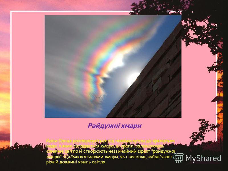 Райдужні хмари Коли Сонце розташовується під певним кутом до крапельок води, з яких складається хмара, ці краплі заломлюють сонячне світло й створюють незвичайний ефект