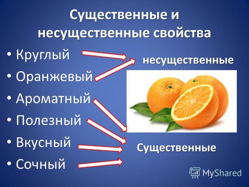 Существенные и несущественные свойства Круглый Оранжевый Ароматный Полезный Вкусный Сочный несущественные Существенные