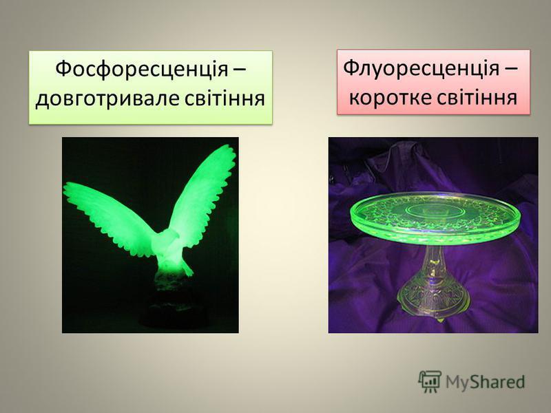 Фосфоресценція – довготривале світіння Флуоресценція – коротке світіння Флуоресценція – коротке світіння