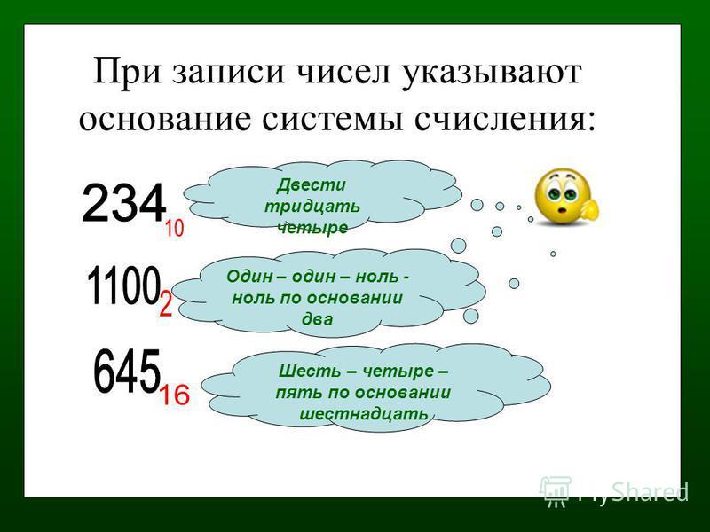 При записи чисел указывают основание системы счисления: Двести тридцать четыре Один – один – ноль - ноль по основании два Шесть – четыре – пять по основании шестнадцать