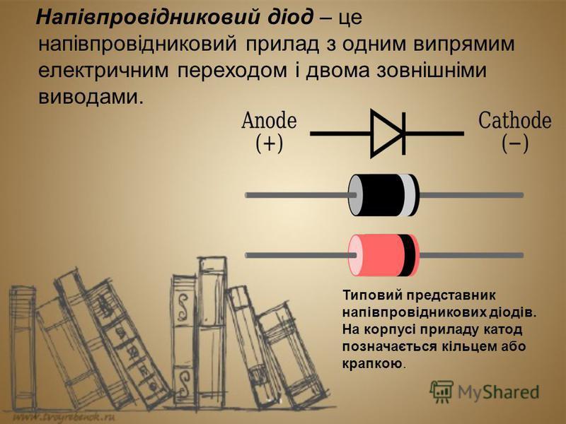 Напівпровідниковий діод – це напівпровідниковий прилад з одним випрямим електричним переходом і двома зовнішніми виводами. Типовий представник напівпровідникових діодів. На корпусі приладу катод позначається кільцем або крапкою.