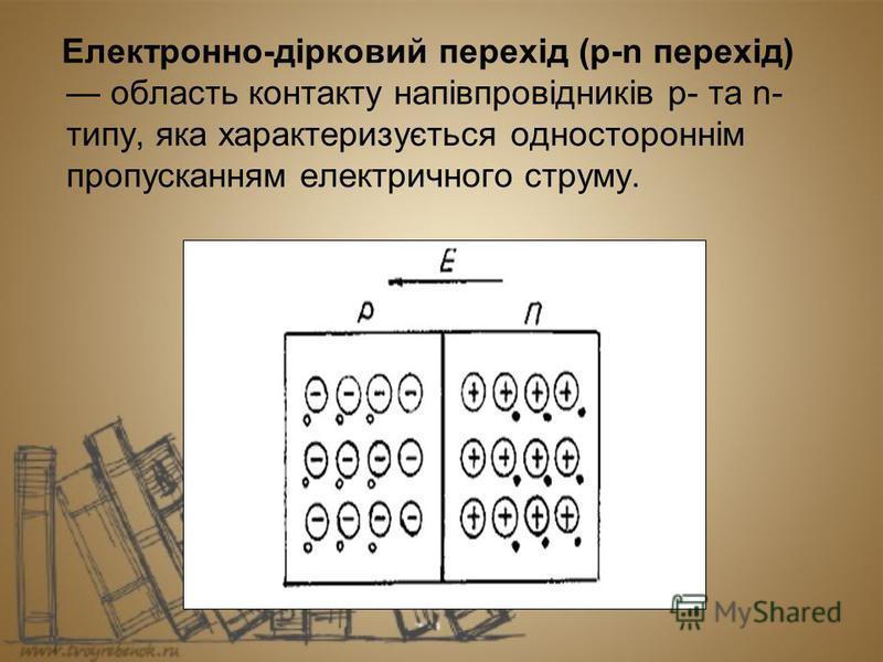 Електронно-дірковий перехід (p-n перехід) область контакту напівпровідників p- та n- типу, яка характеризується одностороннім пропусканням електричного струму.