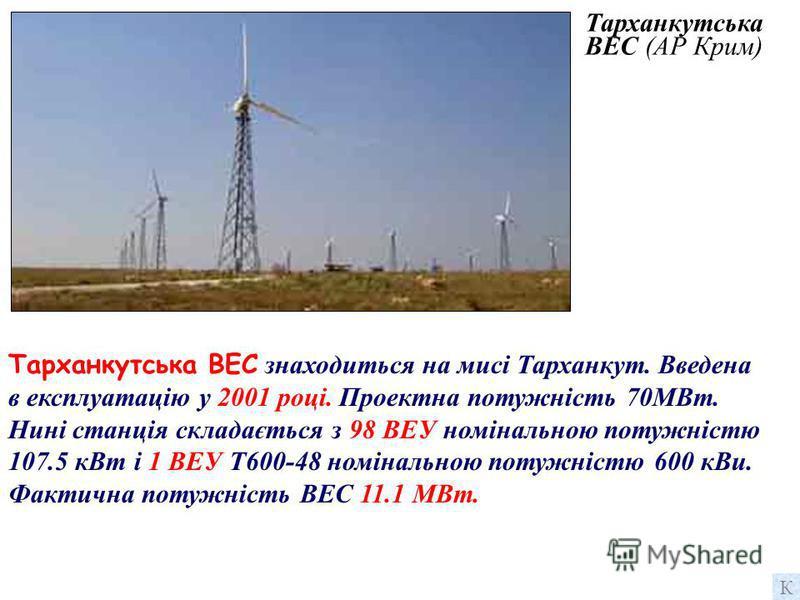 Судацька ВЕС (АР Крим) Судацька вітрова електростанція танція знаходиться на мисі Меганом. Введена в експлуатацію у 2001 році. Проектна потужність 50МВт. Нині станція складається з 50 ВЕУ номінальною потужністю 107,5 кВт. Фактична потужність ВЕС 5,4
