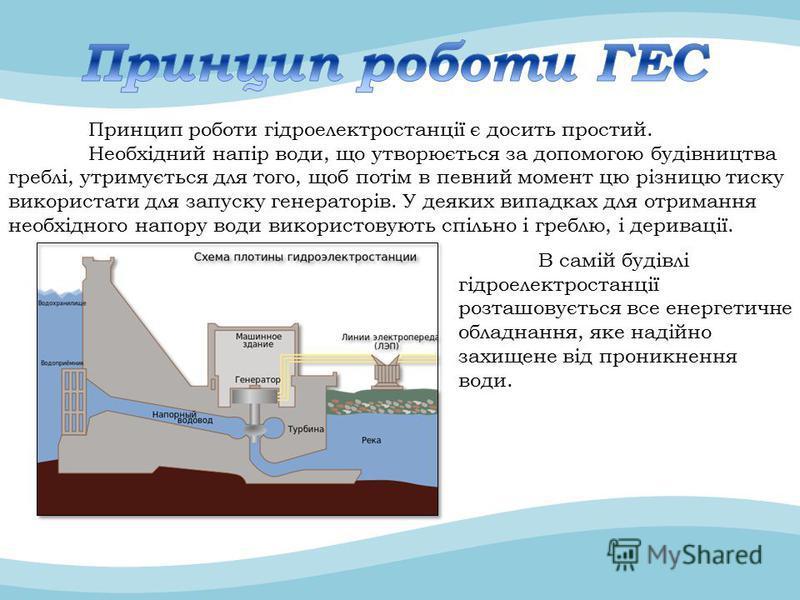 Принцип роботи гідроелектростанції є досить простий. Необхідний напір води, що утворюється за допомогою будівництва греблі, утримується для того, щоб потім в певний момент цю різницю тиску використати для запуску генераторів. У деяких випадках для от
