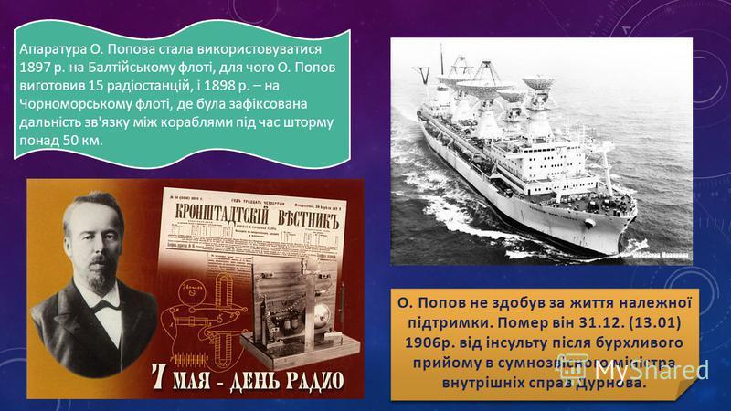 Апаратура О. Попова стала використовуватися 1897 р. на Балтійському флоті, для чого О. Попов виготовив 15 радіостанцій, і 1898 р. – на Чорноморському флоті, де була зафіксована дальність зв'язку між кораблями під час шторму понад 50 км.