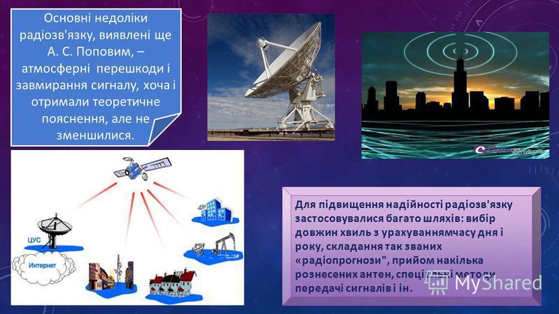 Основні недоліки радіозв'язку, виявлені ще А. С. Поповим, – атмосферні перешкоди і завмирання сигналу, хоча і отримали теоретичне пояснення, але не зменшилися.