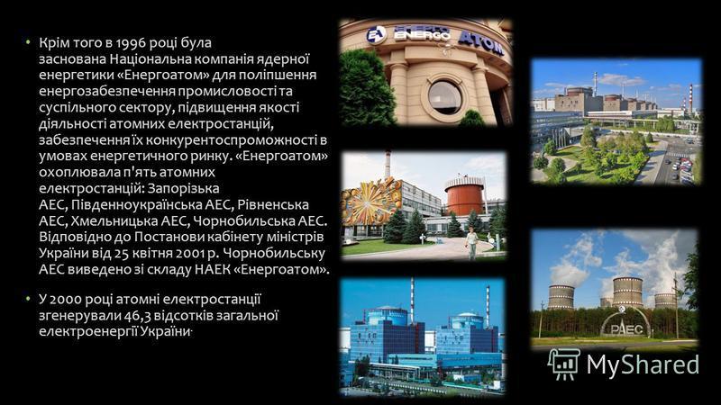 Крім того в 1996 році була заснована Національна компанія ядерної енергетики «Енергоатом» для поліпшення енергозабезпечення промисловості та суспільного сектору, підвищення якості діяльності атомних електростанцій, забезпечення їх конкурентоспроможно