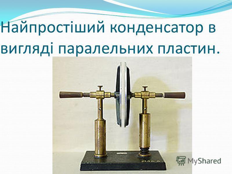 Найпростіший конденсатор в вигляді паралельних пластин.