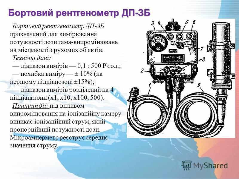 Бортовий рентгенометр ДП-ЗБ Бортовий рентгенометр ДП-ЗБ призначений для вимірювання потужності дози гама-випромінювань на місцевості з рухомих об'єктів. Технічні дані: діапазон вимірів 0,1 : 500 Р\год.; похибка виміру ± 10% (на першому піддіапозоні ±
