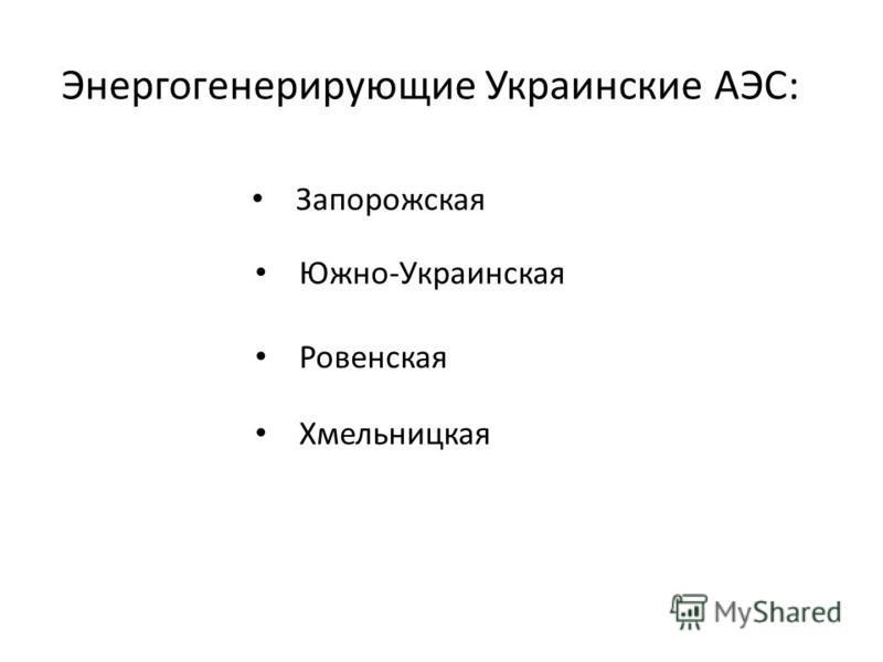 Энергогенерирующие Украинские АЭС: Запорожская Южно-Украинская Ровенская Хмельницкая